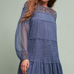 Maeve Anthropologie Mesh Embroidered Dress